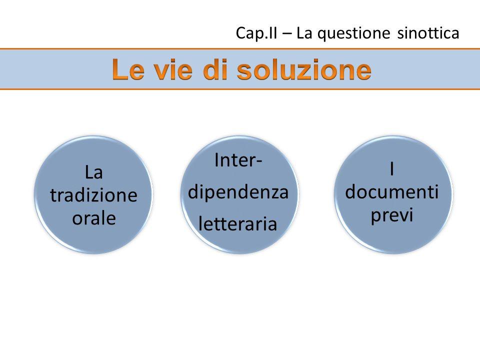 Cap.II – La questione sinottica