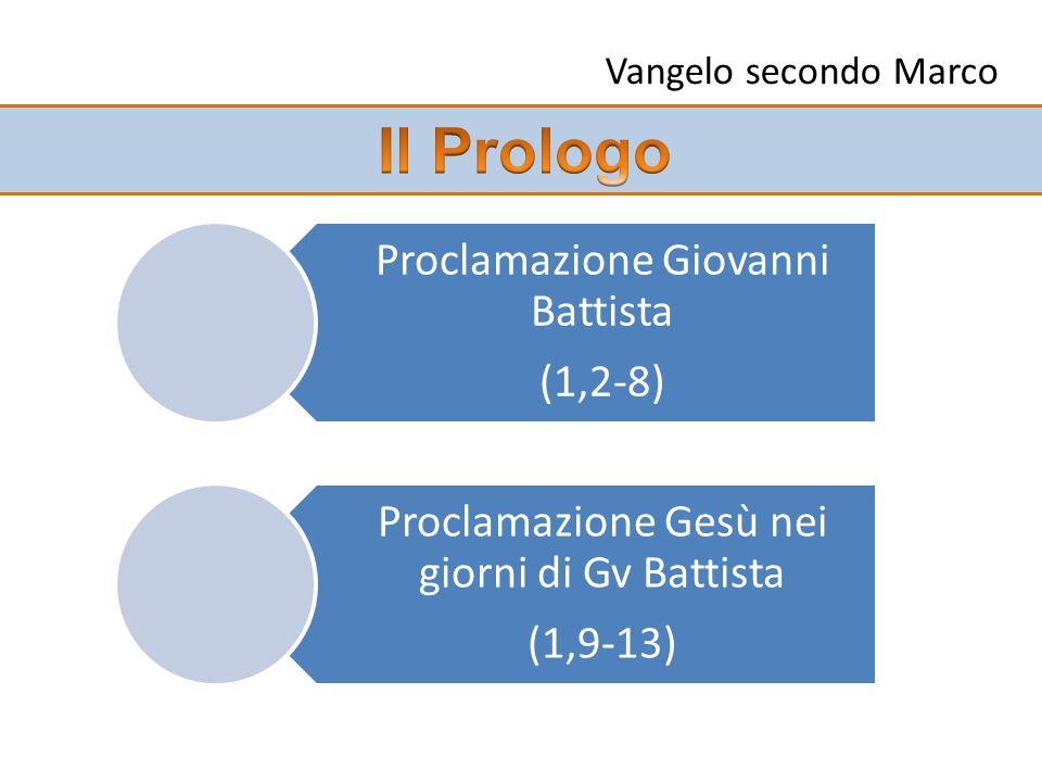 Il Prologo Proclamazione Giovanni Battista (1,2-8)