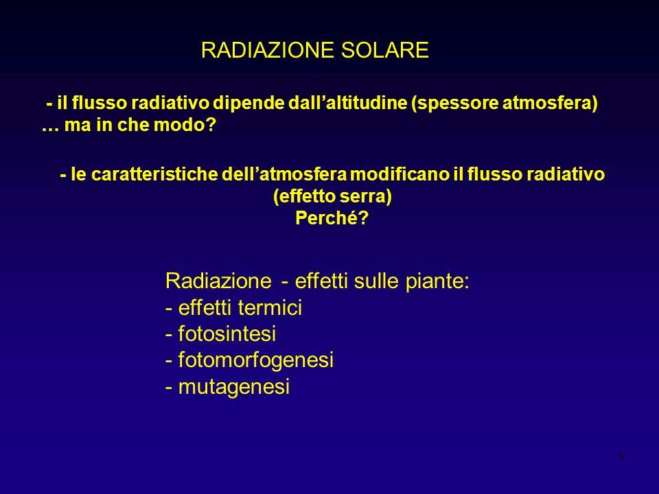Radiazione - effetti sulle piante: - effetti termici - fotosintesi