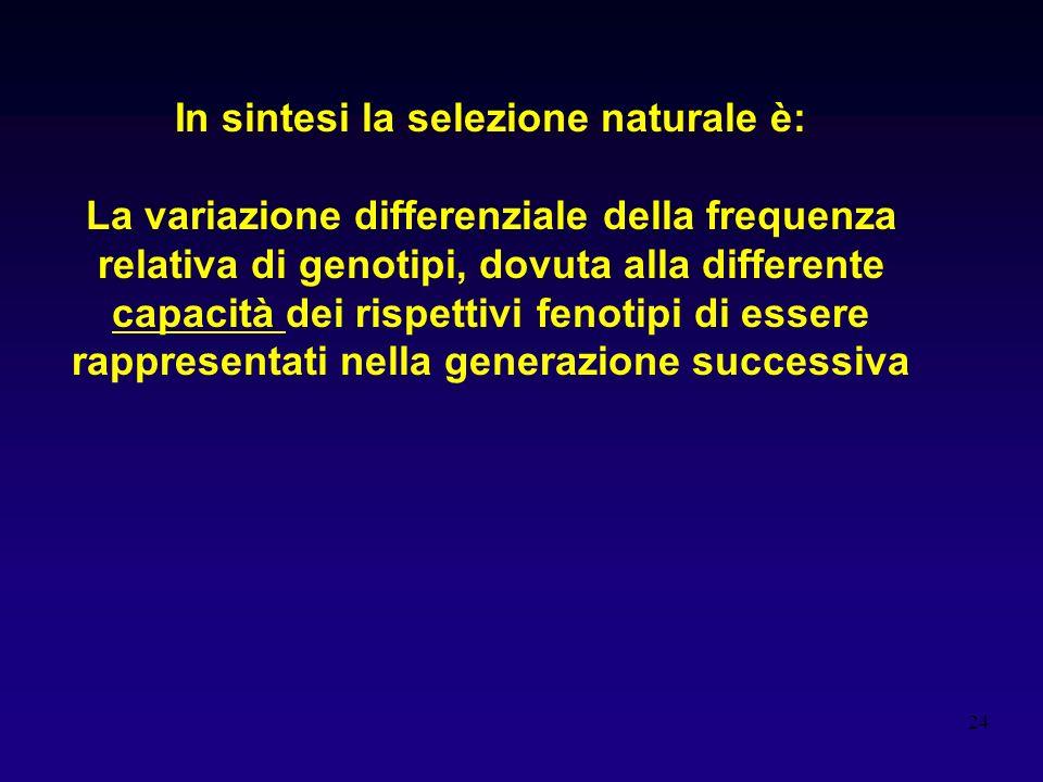 In sintesi la selezione naturale è: