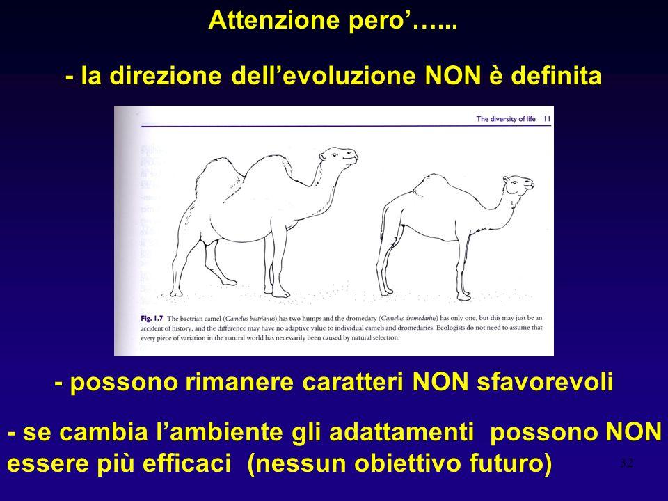 Attenzione pero'…... - la direzione dell'evoluzione NON è definita. - possono rimanere caratteri NON sfavorevoli.