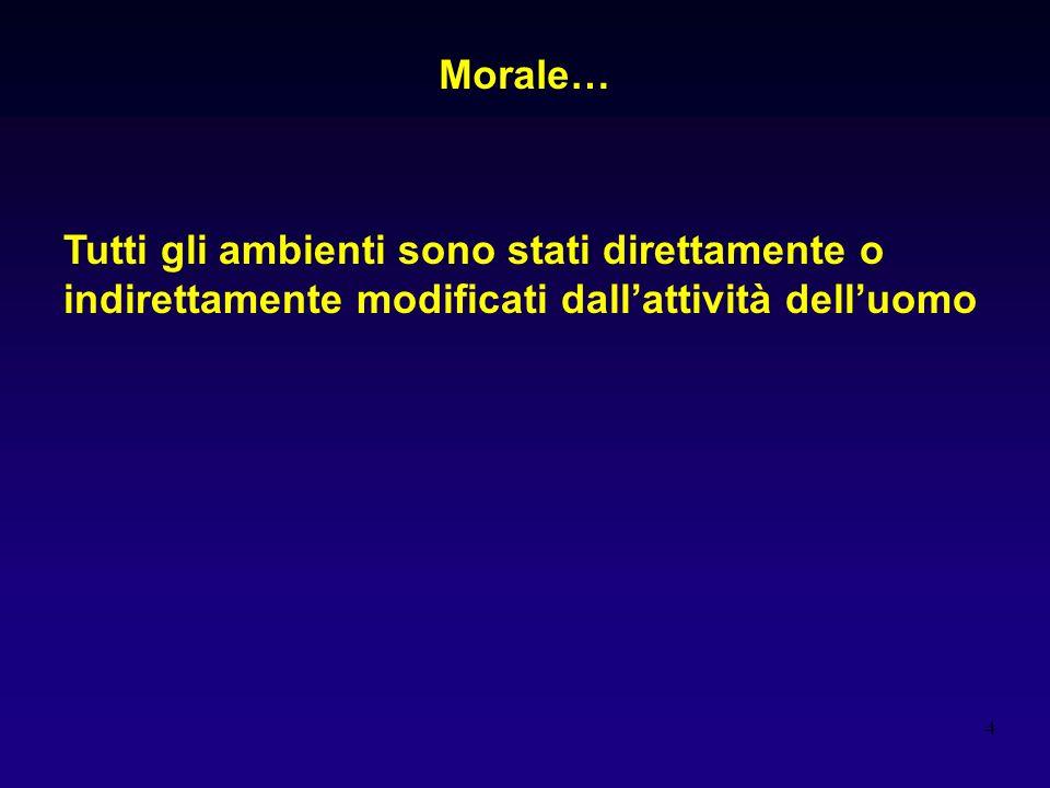 Morale… Tutti gli ambienti sono stati direttamente o indirettamente modificati dall'attività dell'uomo.