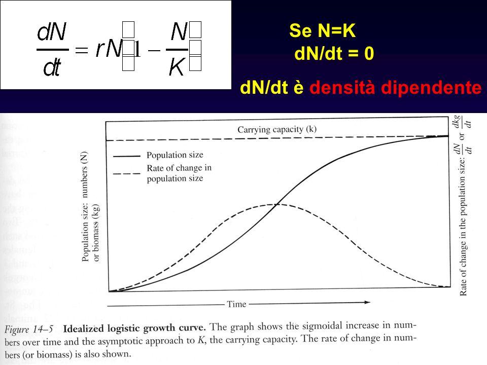 Se N=K dN/dt = 0 dN/dt è densità dipendente
