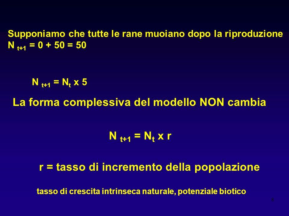 La forma complessiva del modello NON cambia