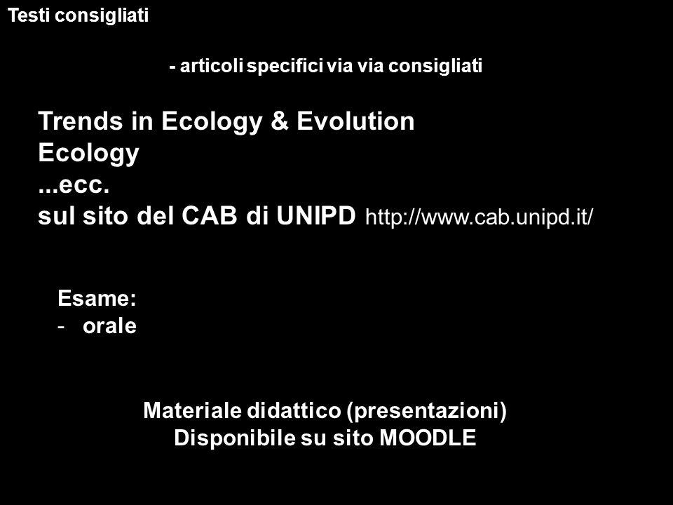 Materiale didattico (presentazioni) Disponibile su sito MOODLE