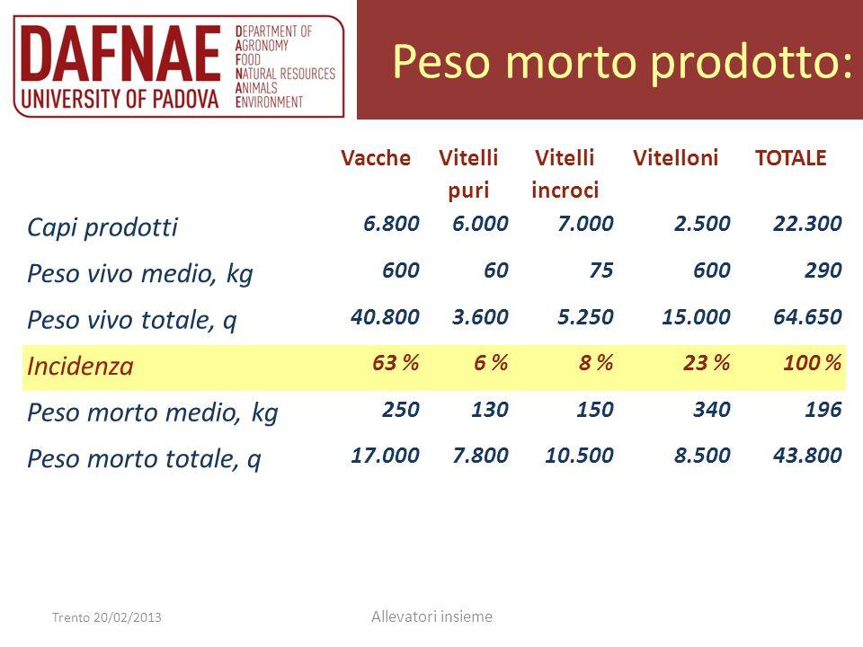 Peso morto prodotto: Capi prodotti Peso vivo medio, kg