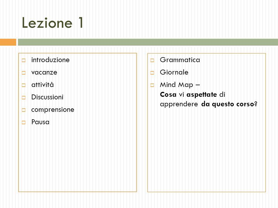 Lezione 1 introduzione vacanze attività Discussioni comprensione Pausa