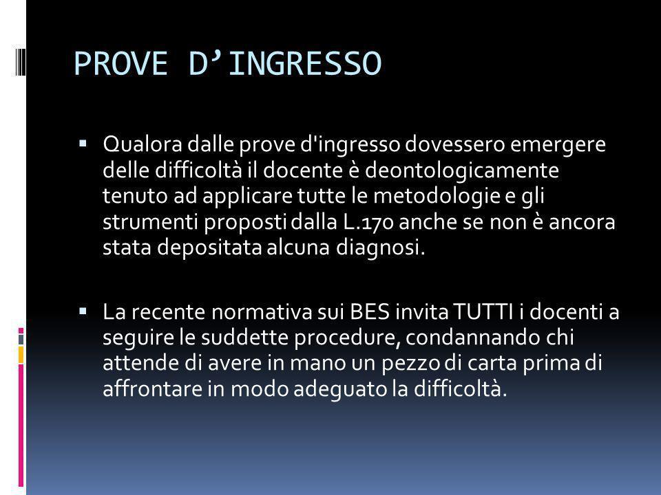 PROVE D'INGRESSO