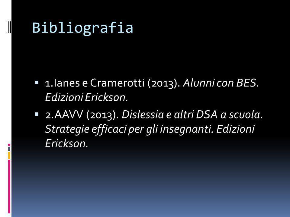 Bibliografia 1.Ianes e Cramerotti (2013). Alunni con BES. Edizioni Erickson.
