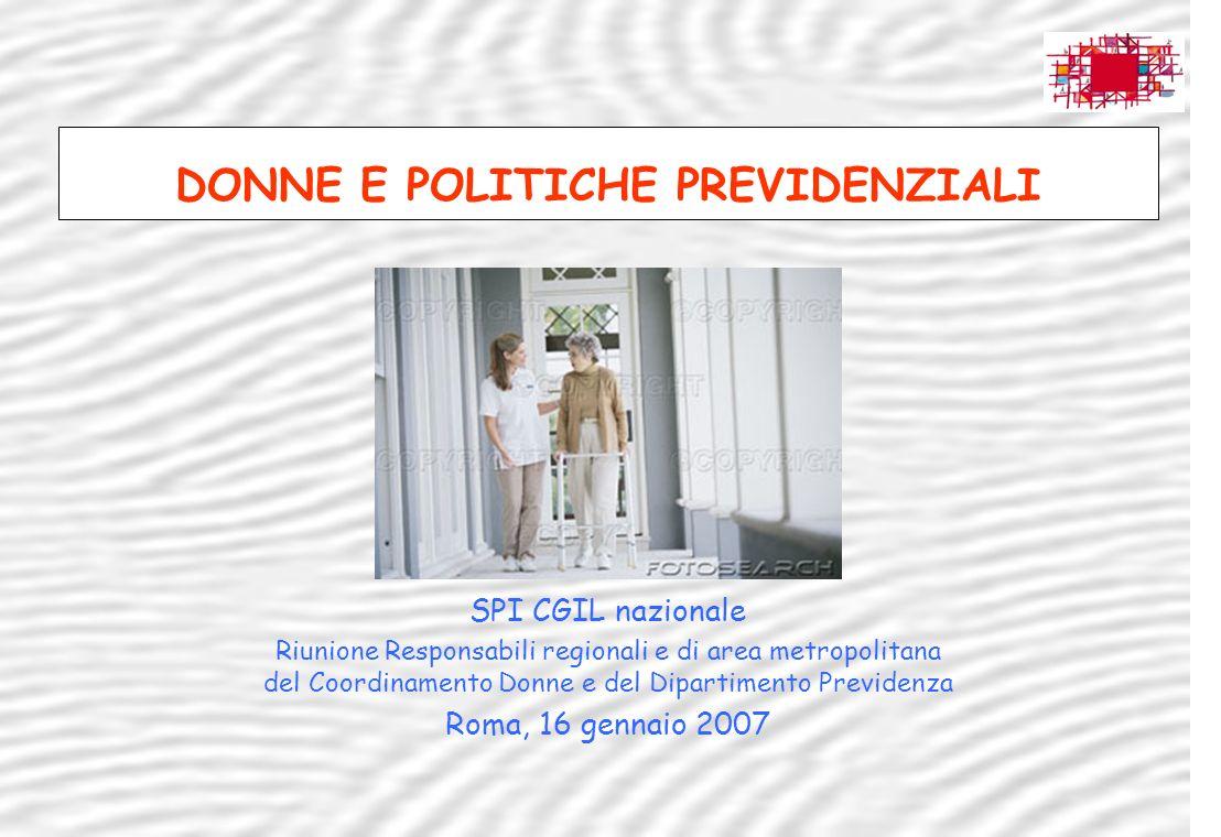 DONNE E POLITICHE PREVIDENZIALI