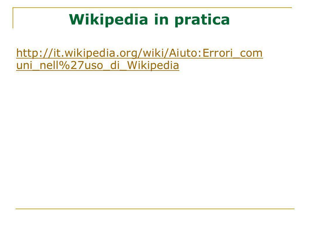 Wikipedia in pratica http://it.wikipedia.org/wiki/Aiuto:Errori_comuni_nell%27uso_di_Wikipedia
