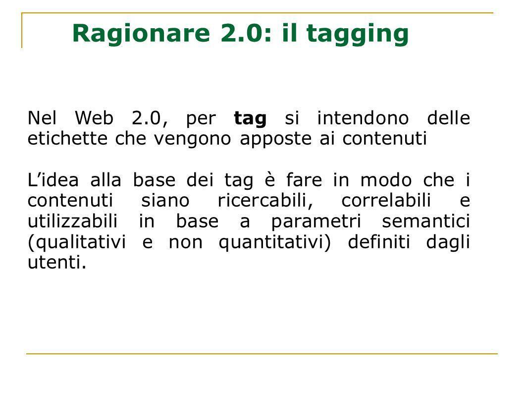 Ragionare 2.0: il tagging Nel Web 2.0, per tag si intendono delle etichette che vengono apposte ai contenuti.