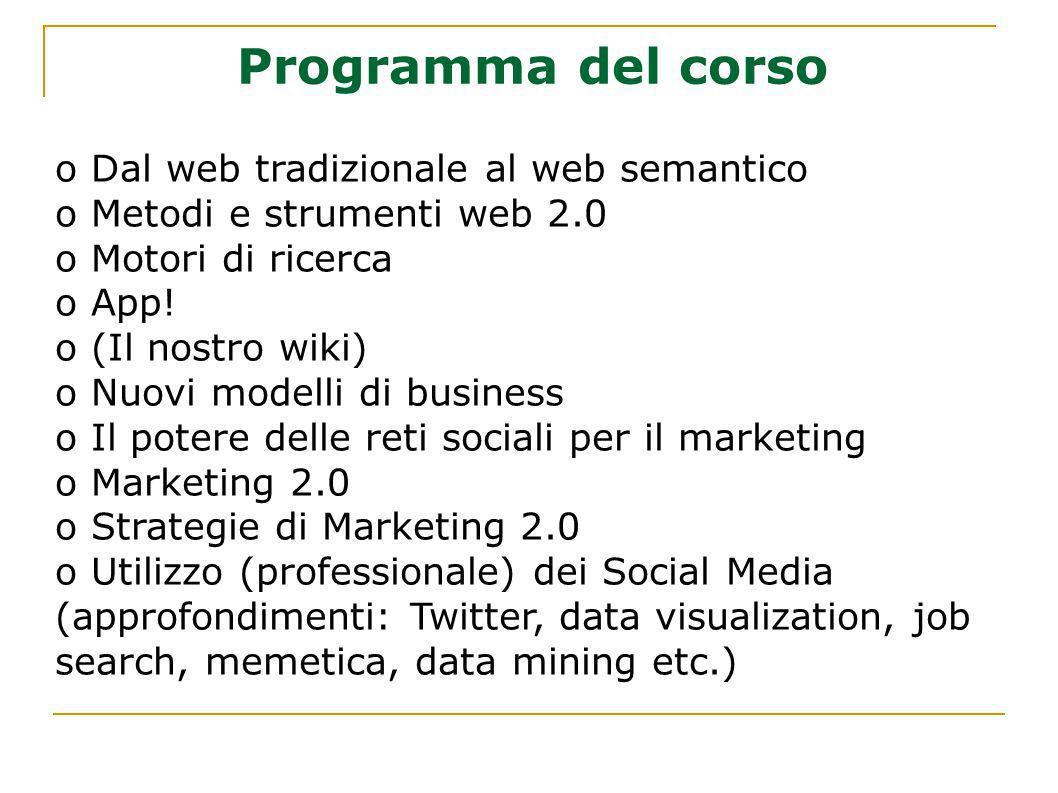 Programma del corso Dal web tradizionale al web semantico