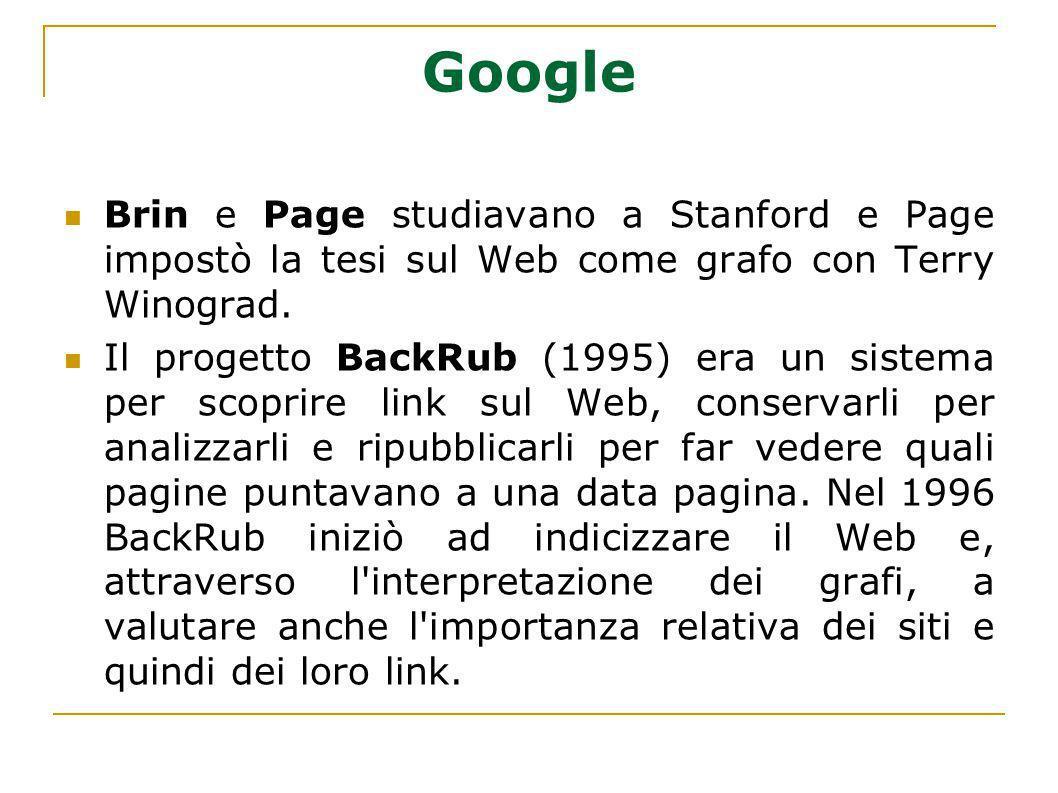 Google Brin e Page studiavano a Stanford e Page impostò la tesi sul Web come grafo con Terry Winograd.