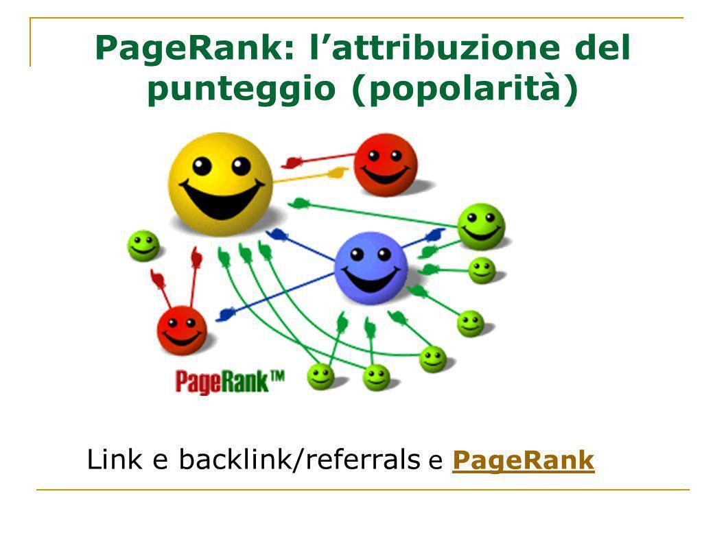 PageRank: l'attribuzione del punteggio (popolarità)