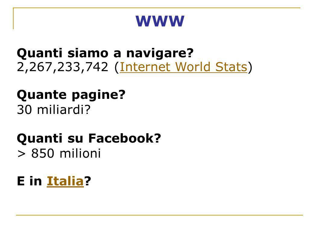 WWW Quanti siamo a navigare 2,267,233,742 (Internet World Stats)