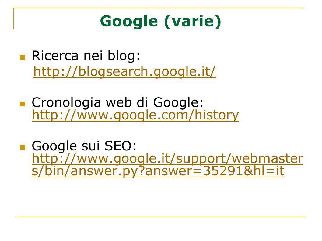 Google (varie) Ricerca nei blog: http://blogsearch.google.it/