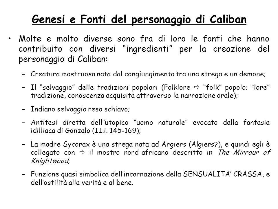 Genesi e Fonti del personaggio di Caliban