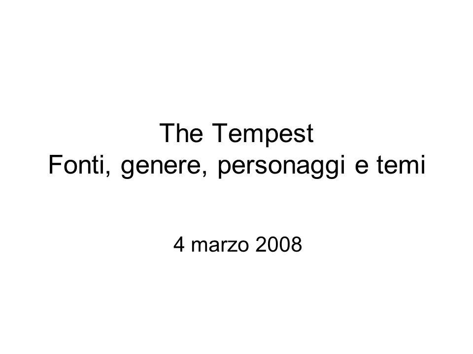 The Tempest Fonti, genere, personaggi e temi