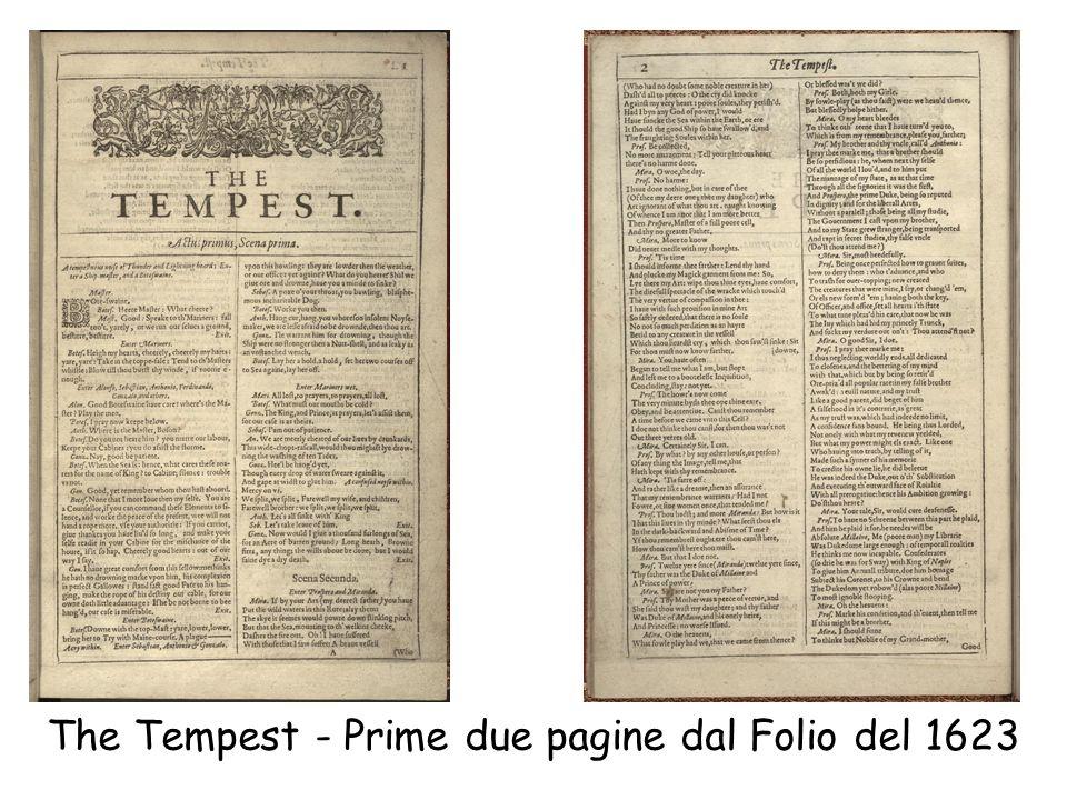 The Tempest - Prime due pagine dal Folio del 1623