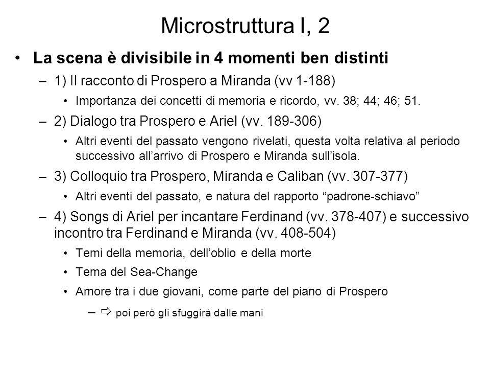 Microstruttura I, 2 La scena è divisibile in 4 momenti ben distinti