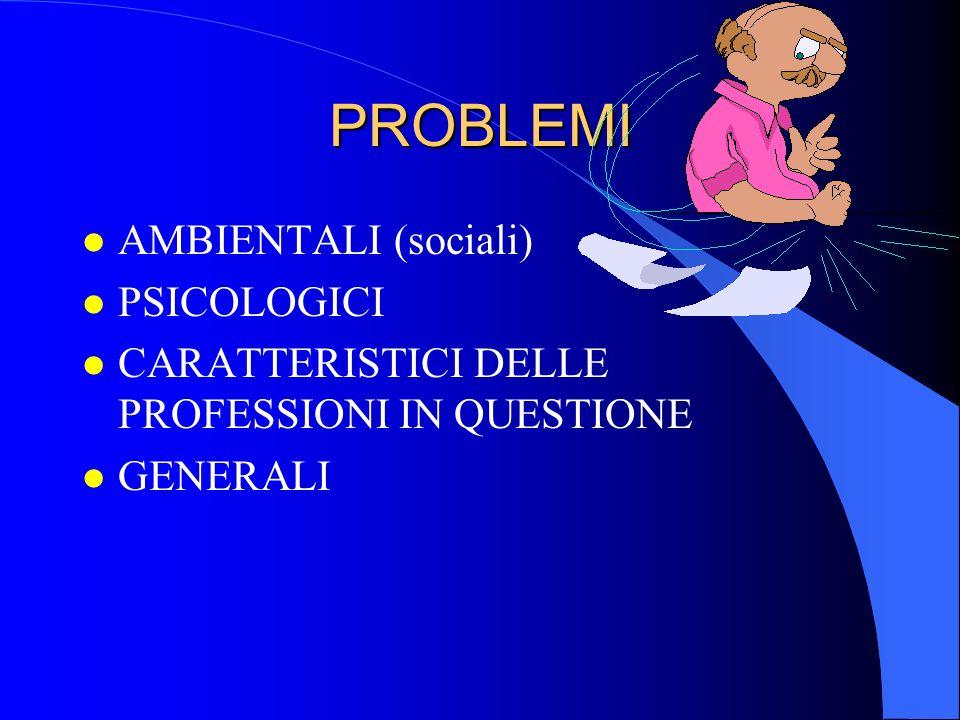 PROBLEMI AMBIENTALI (sociali) PSICOLOGICI