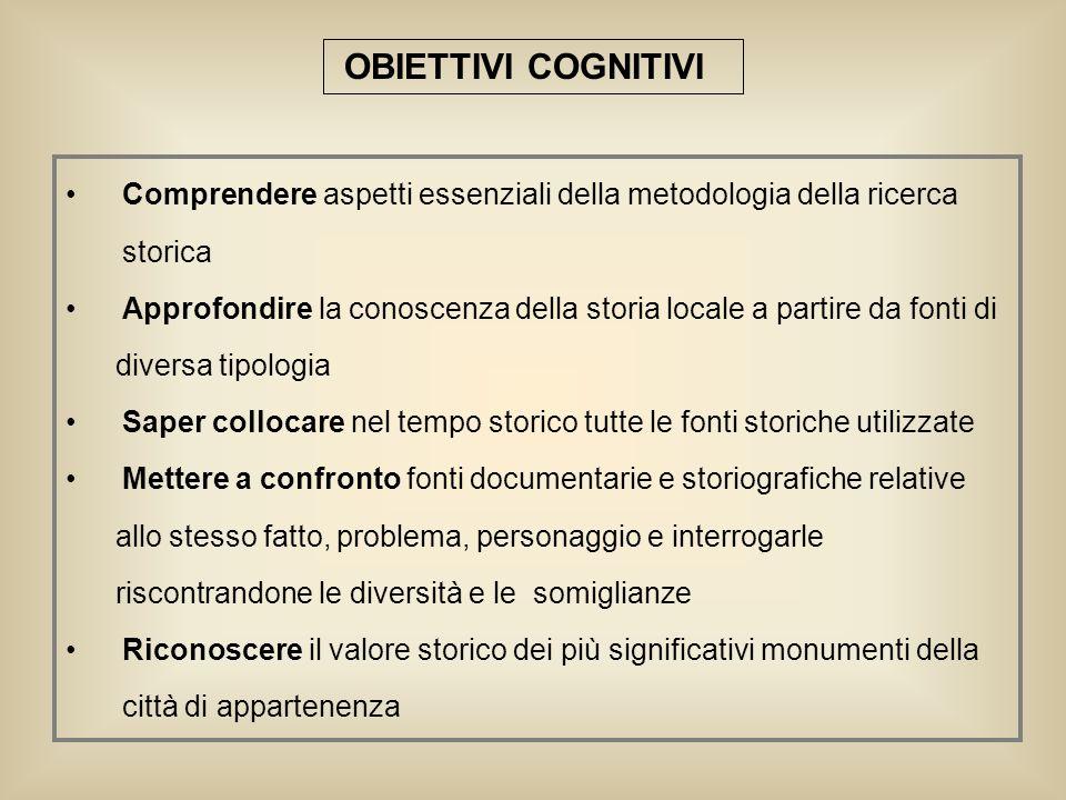 OBIETTIVI COGNITIVI Comprendere aspetti essenziali della metodologia della ricerca. storica.