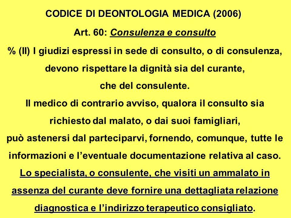 Art. 60: Consulenza e consulto
