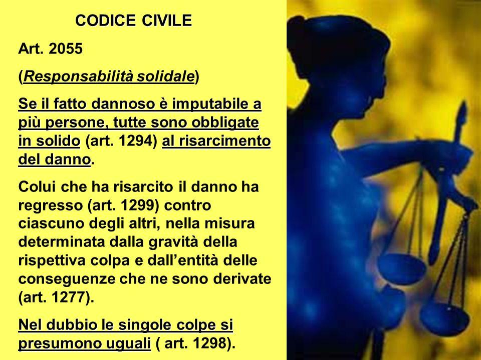 CODICE CIVILE Art. 2055 (Responsabilità solidale)