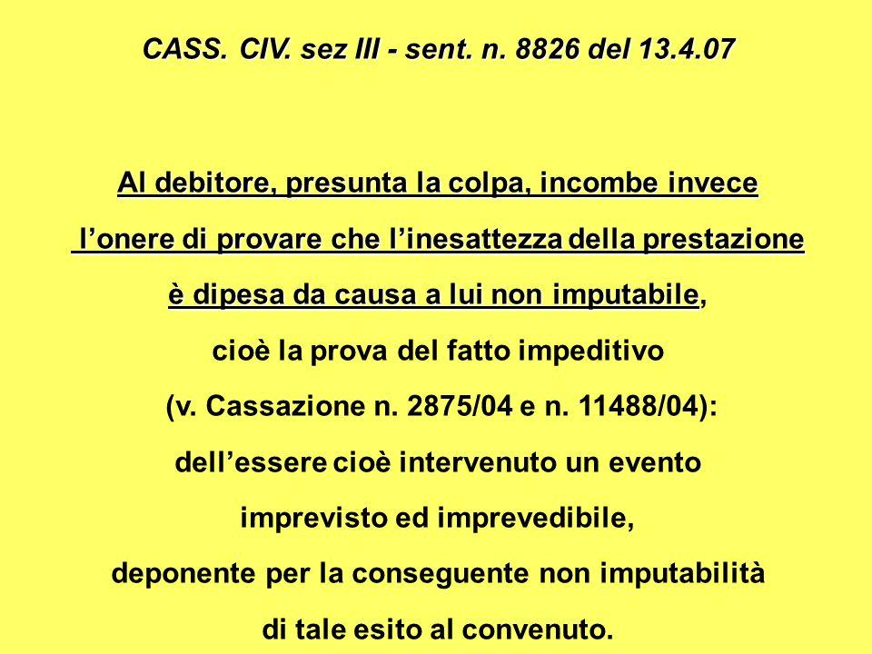 CASS. CIV. sez III - sent. n. 8826 del 13.4.07