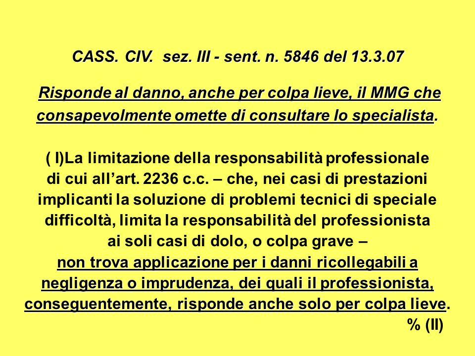 CASS. CIV. sez. III - sent. n. 5846 del 13.3.07
