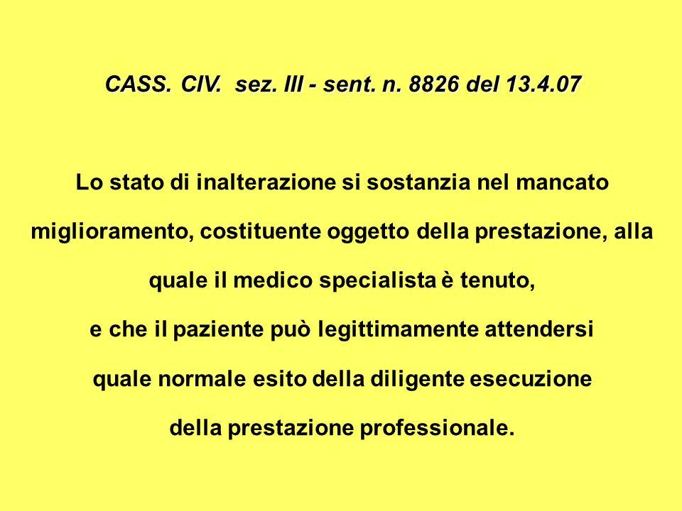 CASS. CIV. sez. III - sent. n. 8826 del 13.4.07