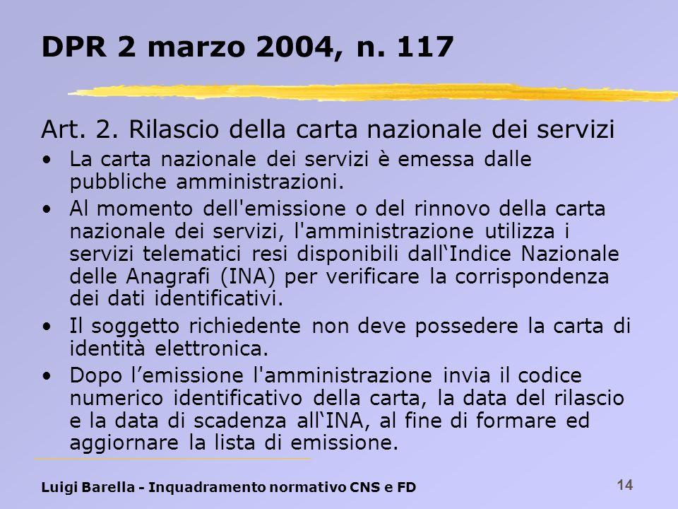 inquadramento normativo carta nazionale dei servizi e