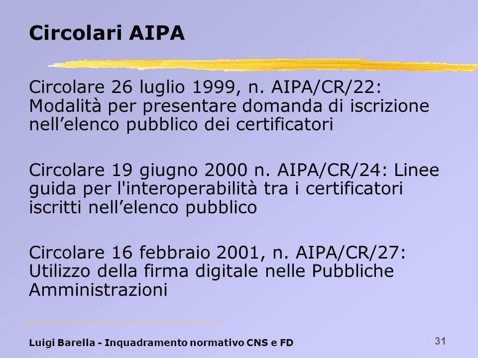 Circolari AIPA Circolare 26 luglio 1999, n. AIPA/CR/22: Modalità per presentare domanda di iscrizione nell'elenco pubblico dei certificatori.
