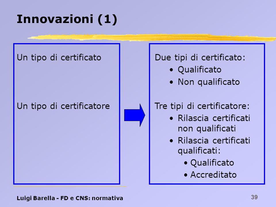Innovazioni (1) Un tipo di certificato Un tipo di certificatore