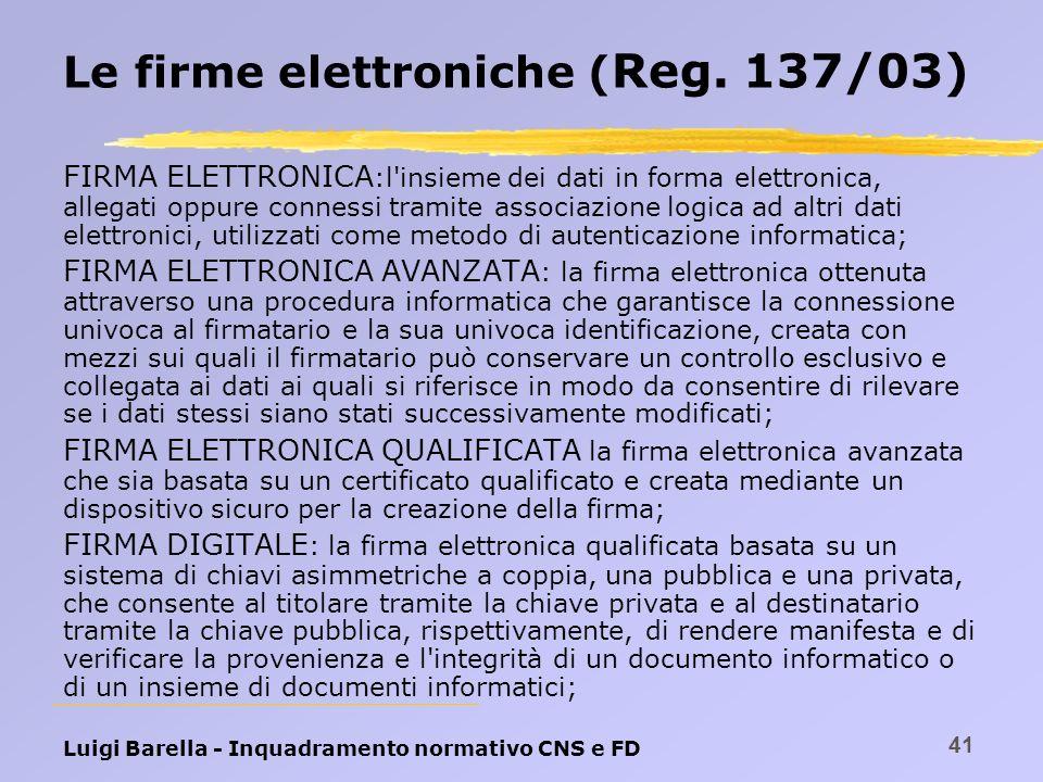 Le firme elettroniche (Reg. 137/03)
