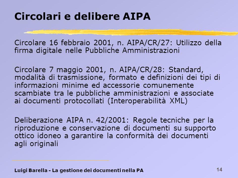 Circolari e delibere AIPA