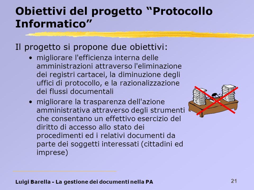 Obiettivi del progetto Protocollo Informatico