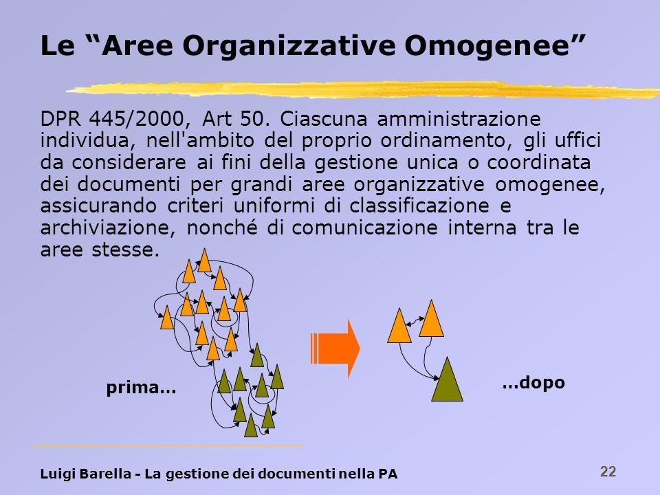 Le Aree Organizzative Omogenee
