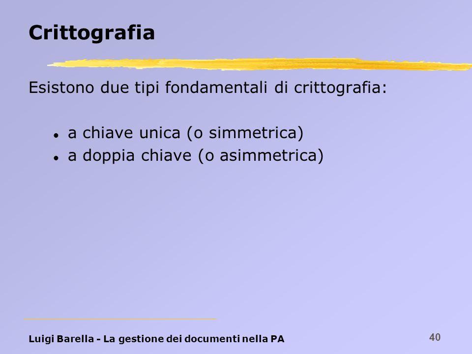 Crittografia Esistono due tipi fondamentali di crittografia: