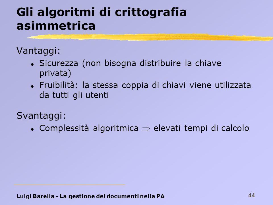 Gli algoritmi di crittografia asimmetrica