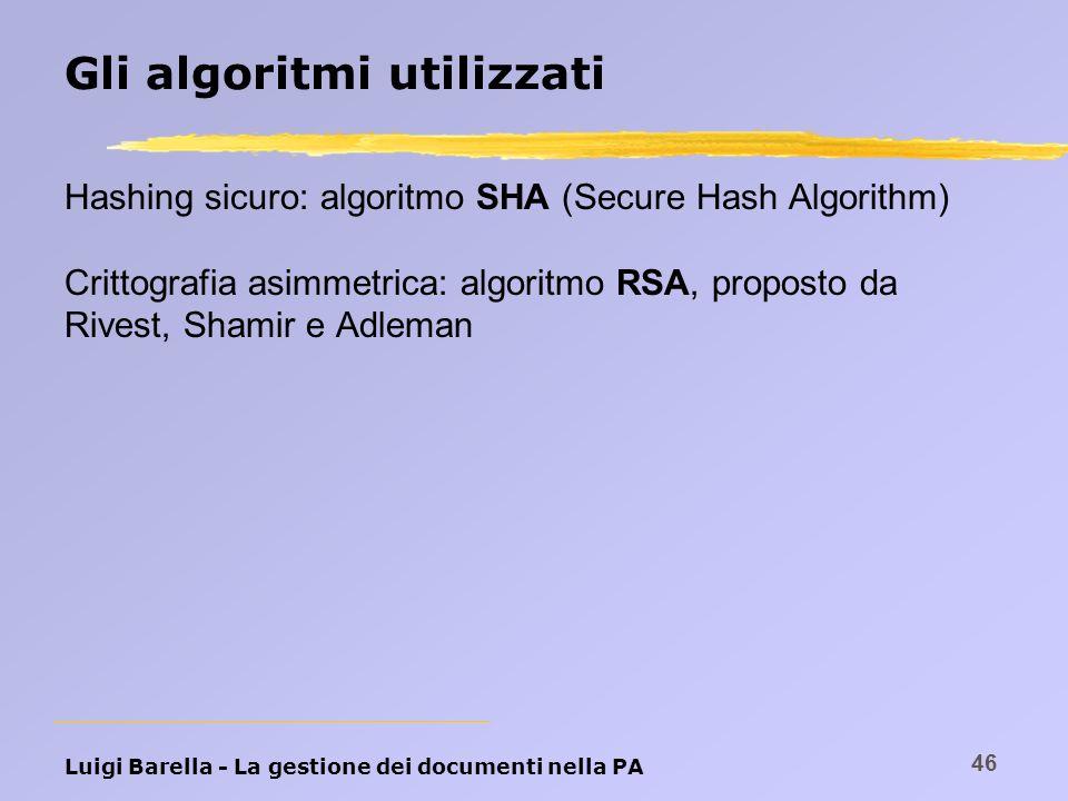 Gli algoritmi utilizzati