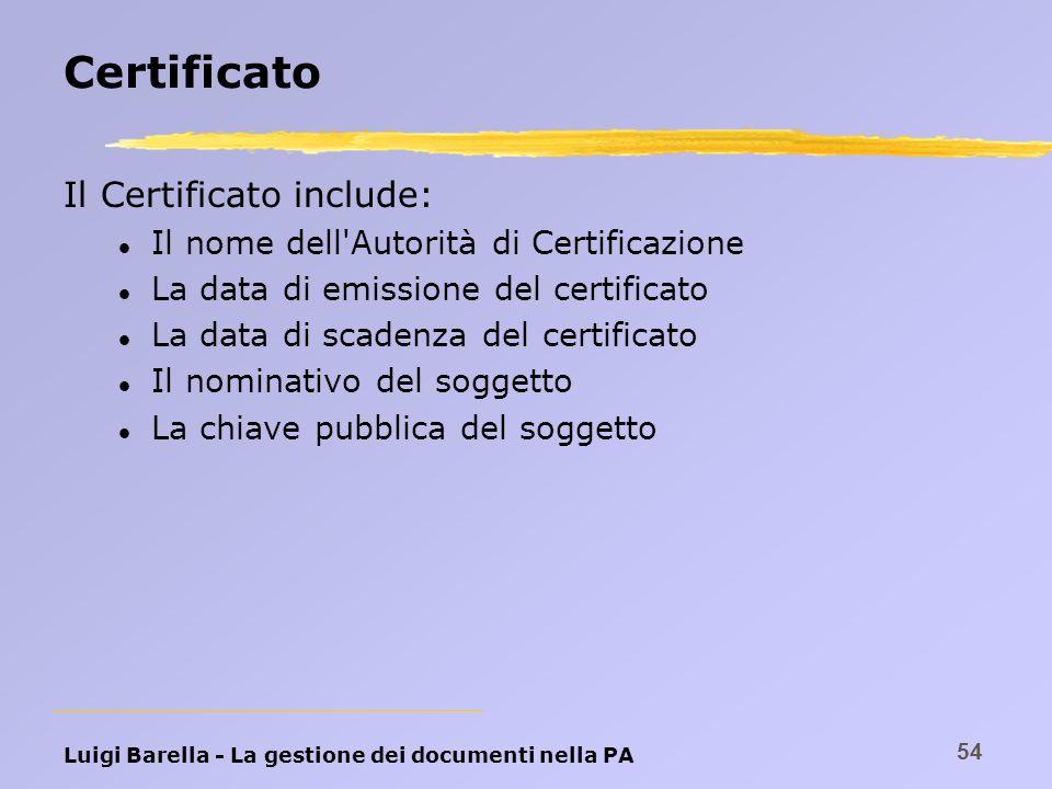 Certificato Il Certificato include: