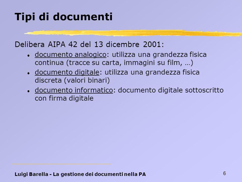 Tipi di documenti Delibera AIPA 42 del 13 dicembre 2001: