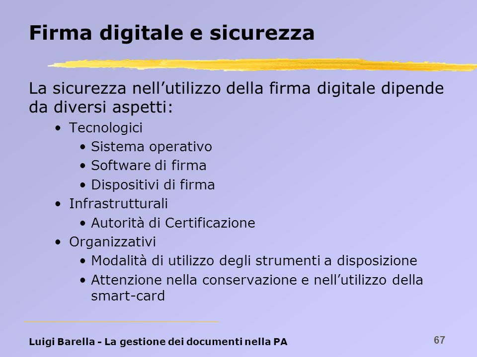 Firma digitale e sicurezza