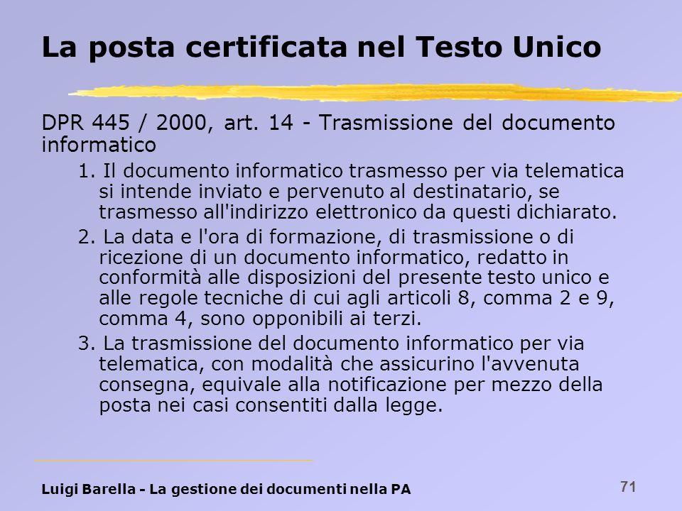 La posta certificata nel Testo Unico