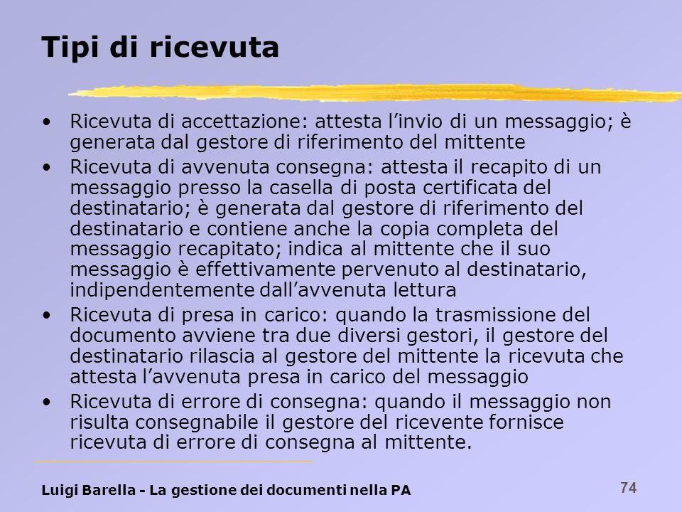 Tipi di ricevuta Ricevuta di accettazione: attesta l'invio di un messaggio; è generata dal gestore di riferimento del mittente.