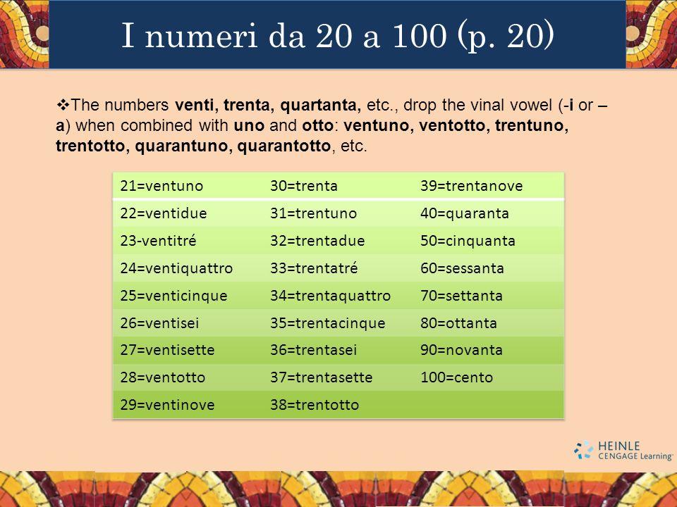 I numeri da 20 a 100 (p. 20)