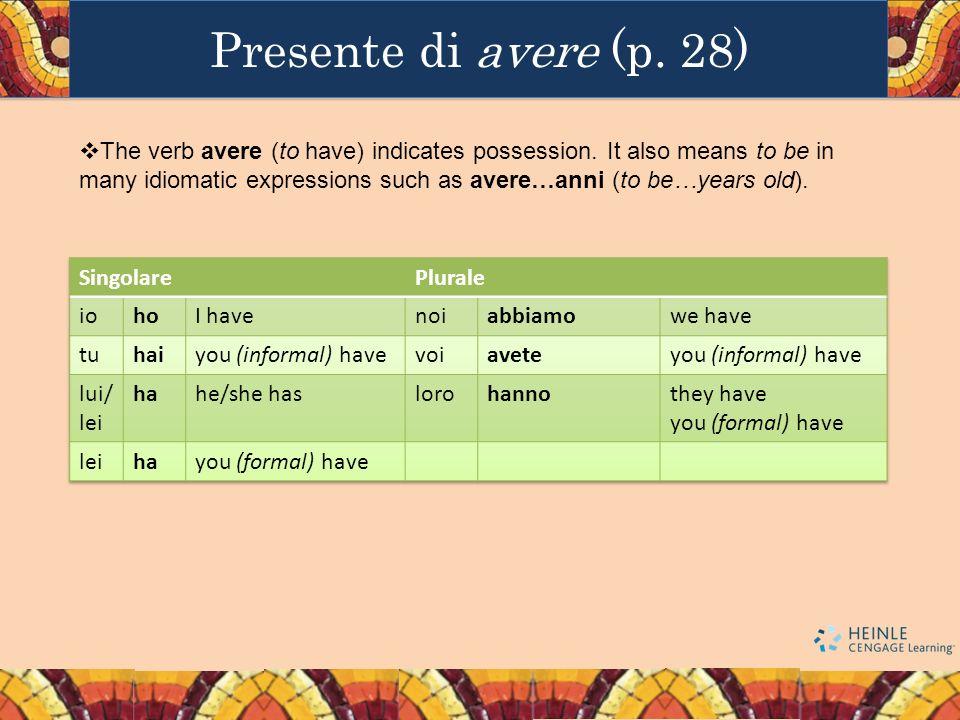 Presente di avere (p. 28)