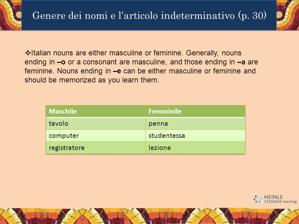 Genere dei nomi e l'articolo indeterminativo (p. 30)